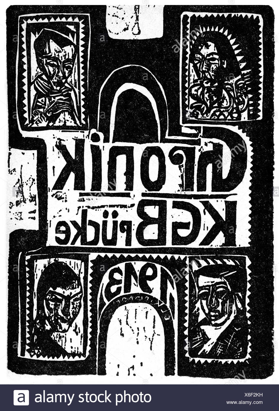 fine arts, Kirchner, Ernst Ludwig,  (1880 - 1938) , 'Chronik KG Bruecke 1913', woodcut, Additional-Rights-Clearences-NA - Stock Image