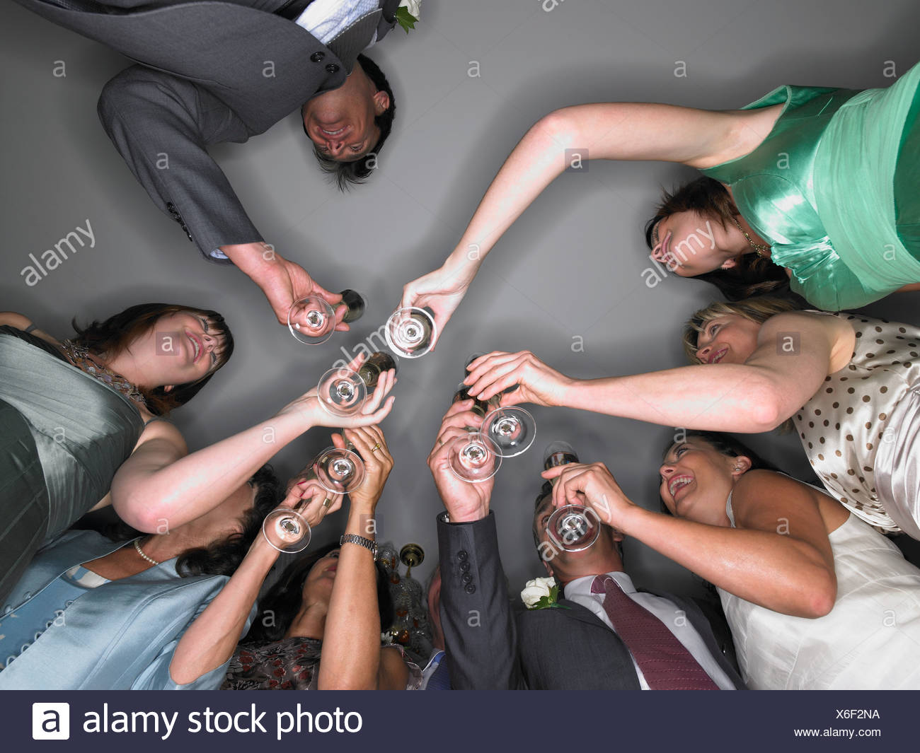 Wedding guests toasting Stock Photo