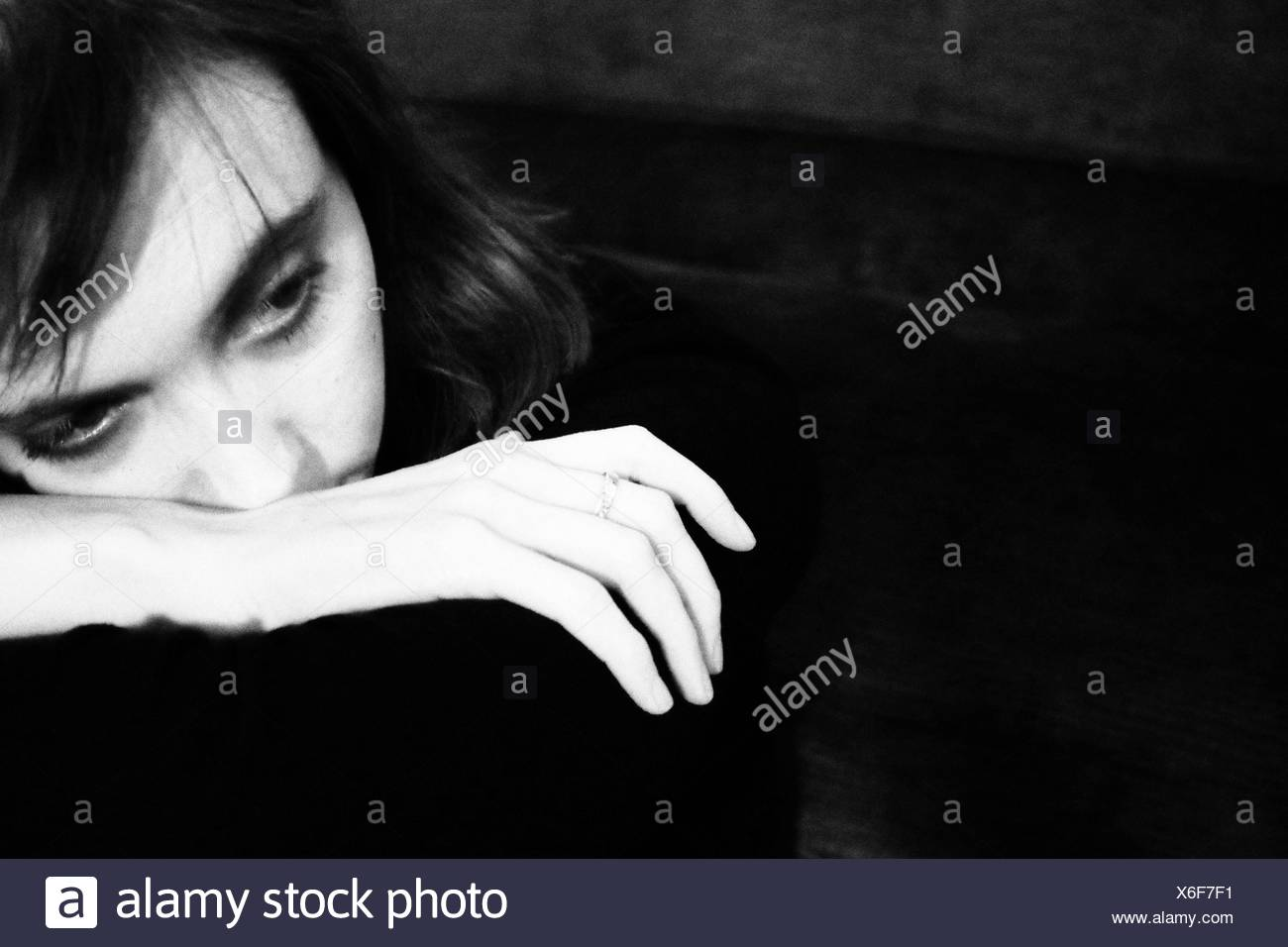 Pensive Young Woman - Stock Image