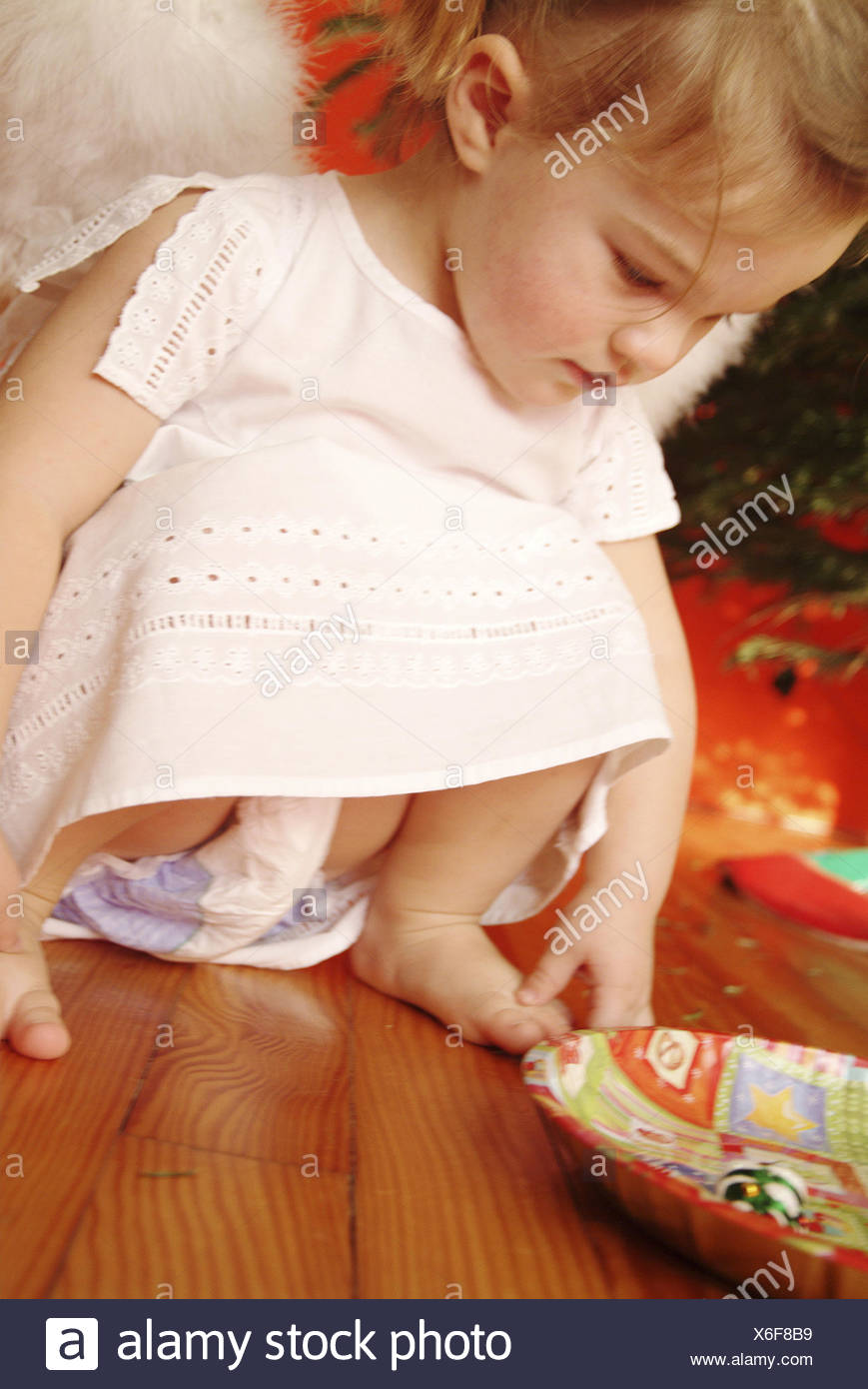 Christmas Child Squats Girls Braids Little Dress Angel Wings Angels Plates People Toddler 2 4 Years Cutely Outfit