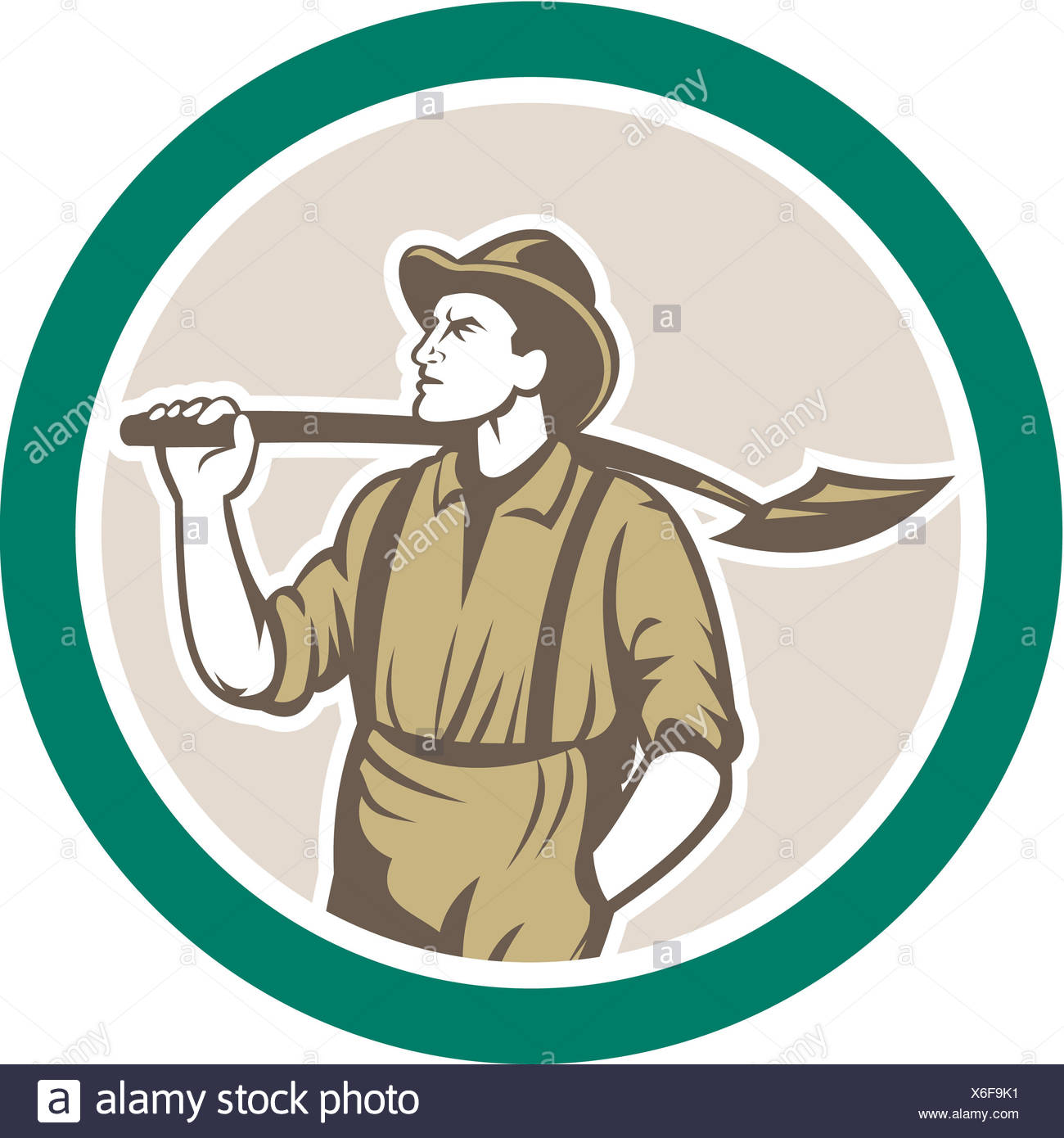 Prospector Miner With Shovel Circle Retro - Stock Image