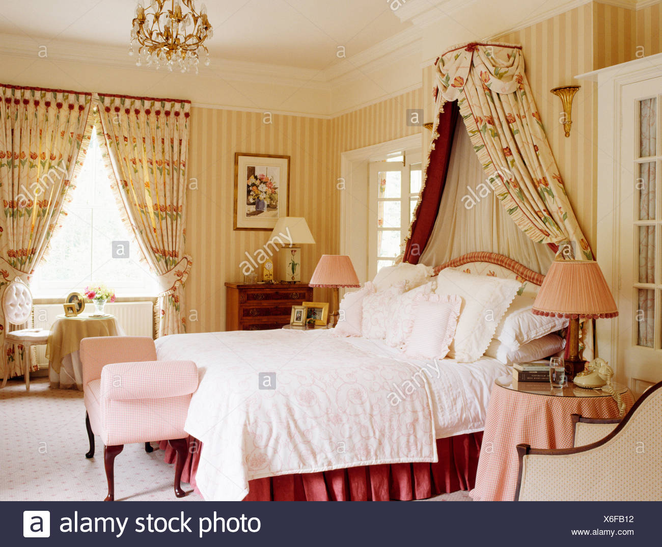 pale soft wallpaper furnishings stock bed photo white and linen coronet bedroom drape drapes pink striped with country quilt floral traditional photos in above