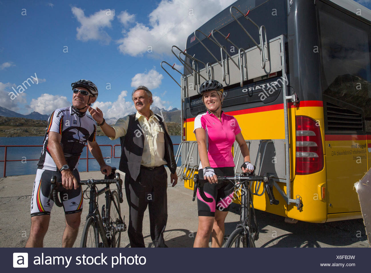 Postbus, riding a bicycle, Grimsel Pass, canton, VS, Valais, glacier, ice, moraine, bicycle, bicycles, bike, riding a bicycle, r Stock Photo