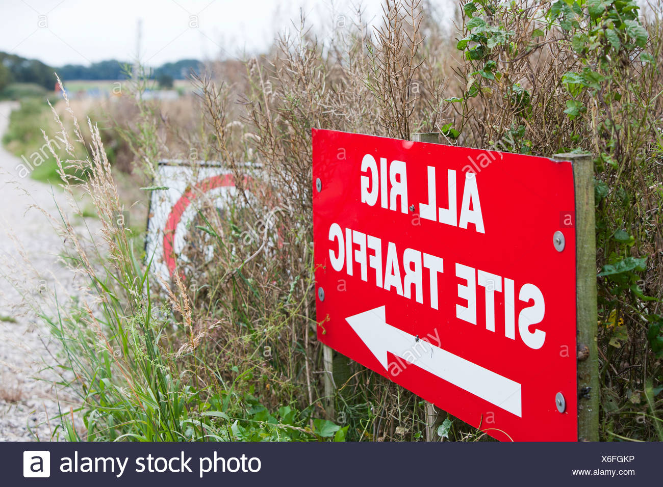 A test drilling site for shale gas at Preese Hall Farm near Blackpool, Lancashire, UK. - Stock Image