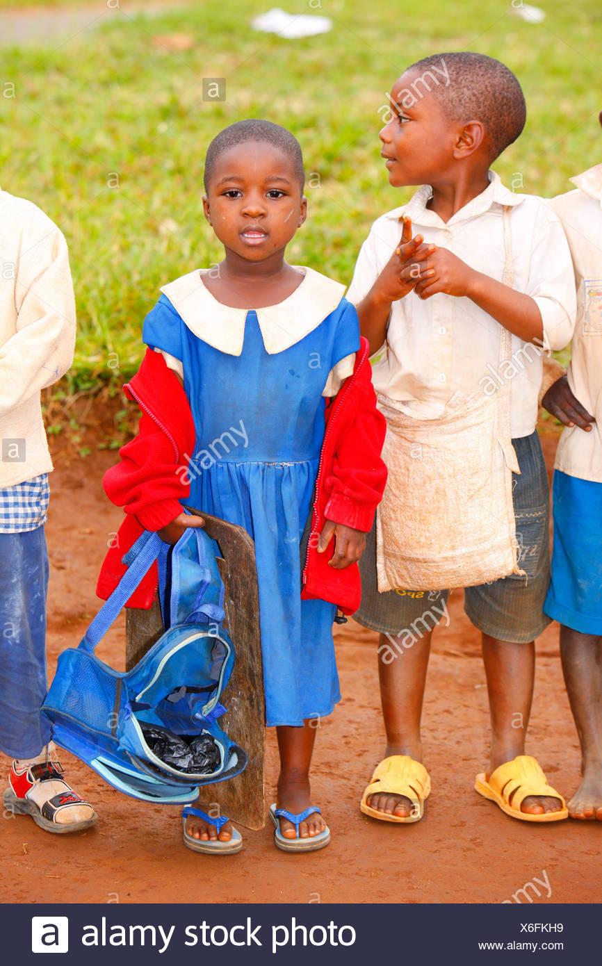 Schoolchildren in school uniforms, primary school, Bamenda, Cameroon, Africa - Stock Image