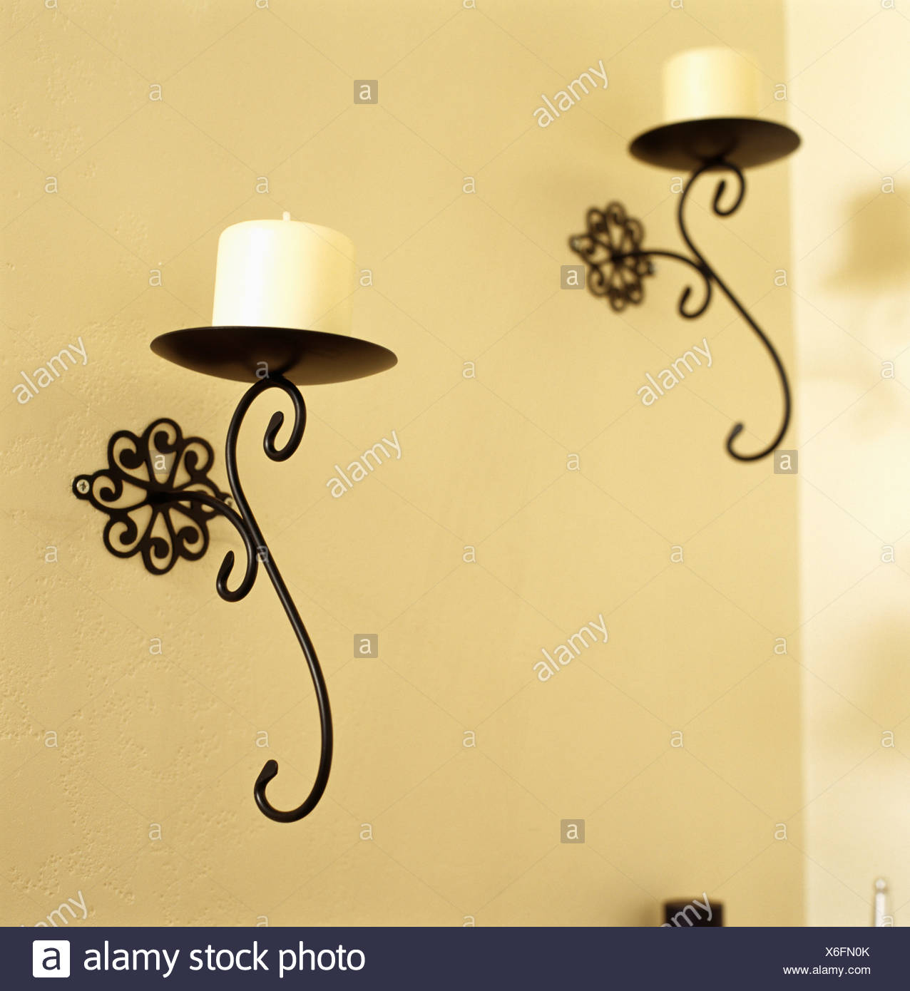 Fine Wrought Iron Wall Decor Candle Holders Pattern - Wall Art ...