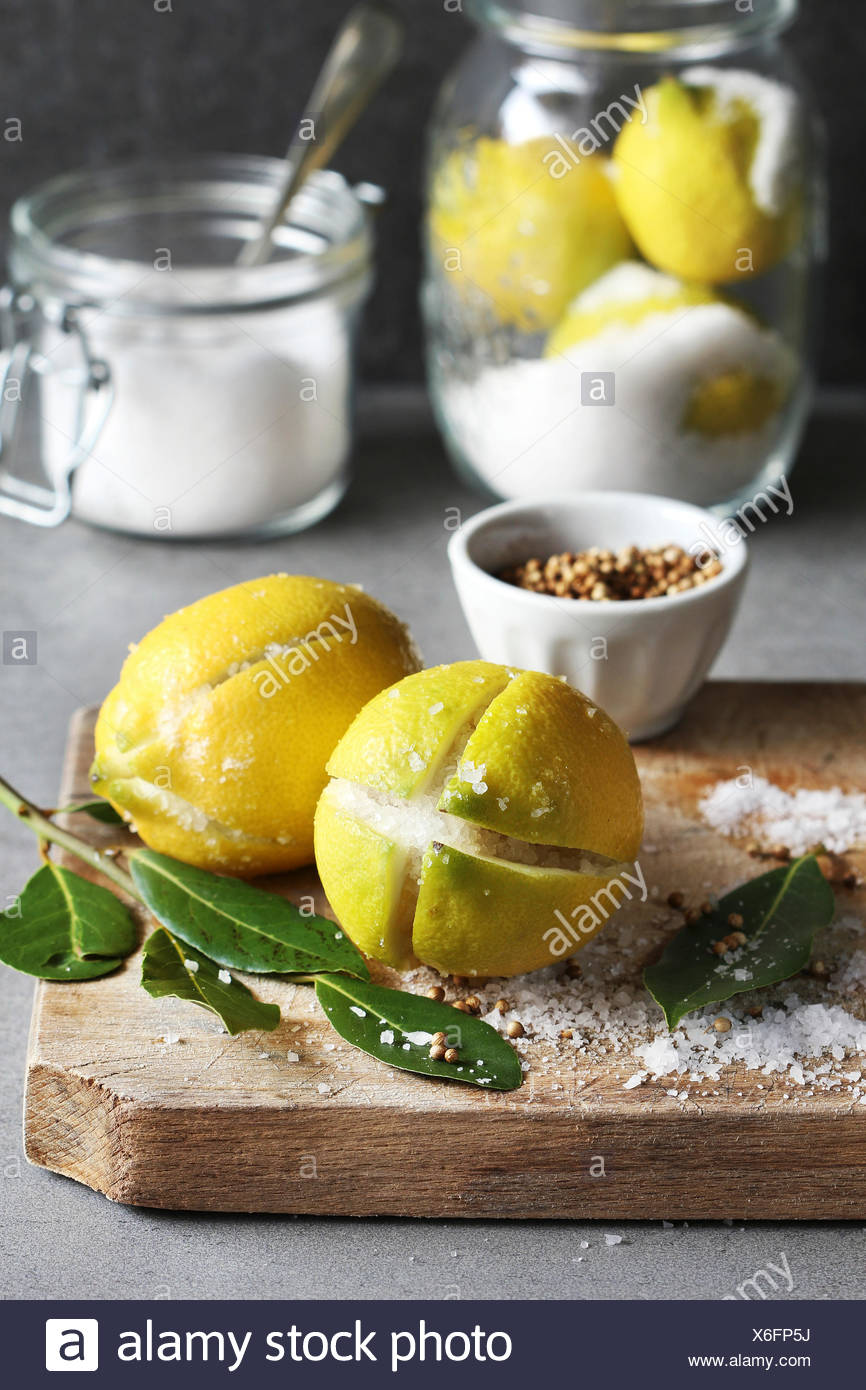 Preparing preserved lemons - Stock Image