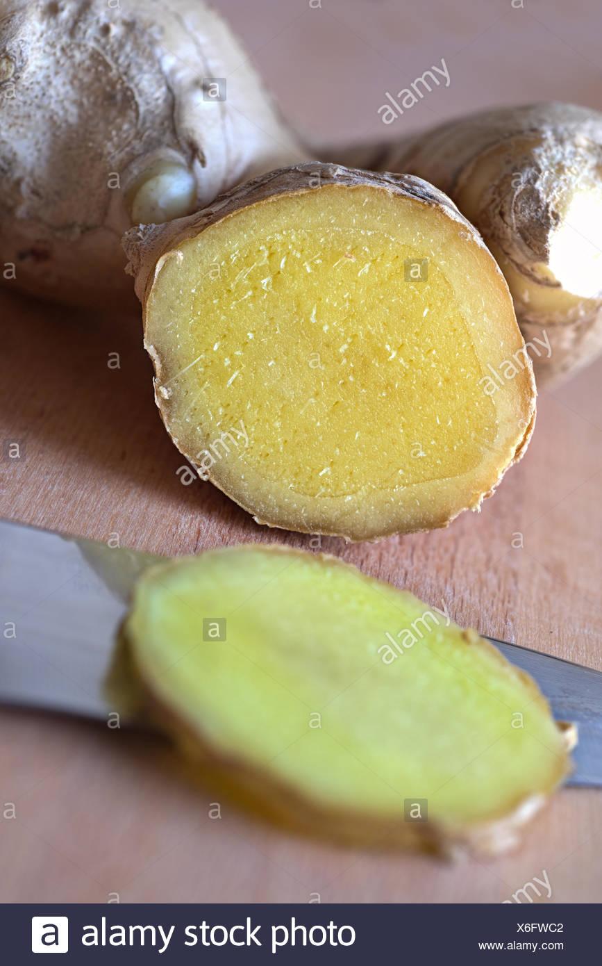 Fresh Ginger Rhizome, cut - Stock Image