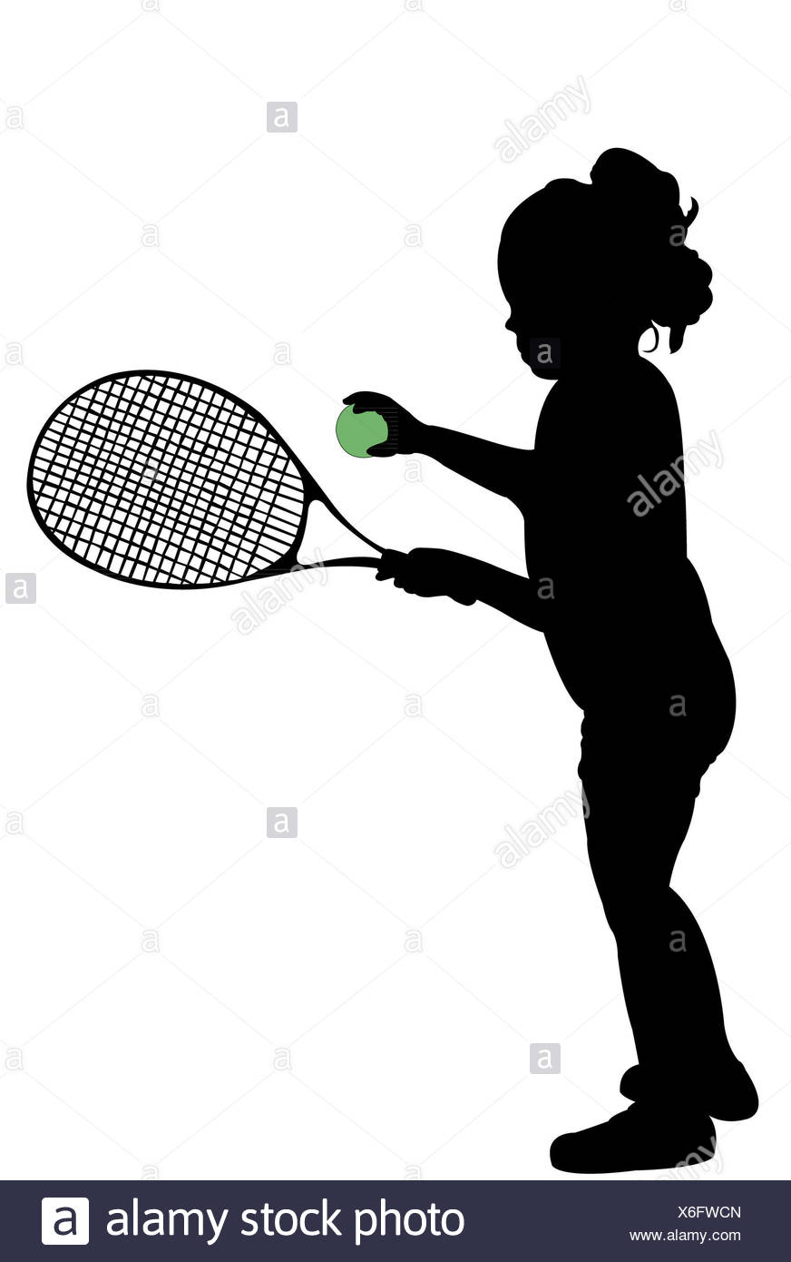 silhouette of child playing tennis - Stock Image