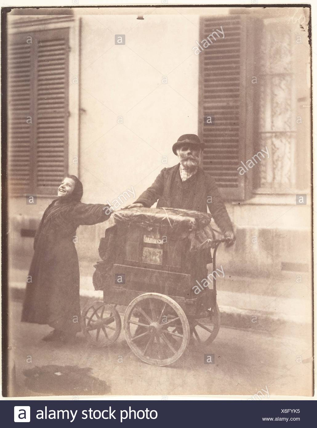 Organ-grinder. Artist: Eugène Atget (French, Libourne 1857-1927 Paris); Date: 1898-99; Medium: Matte albumen silver print from glass negative; - Stock Image