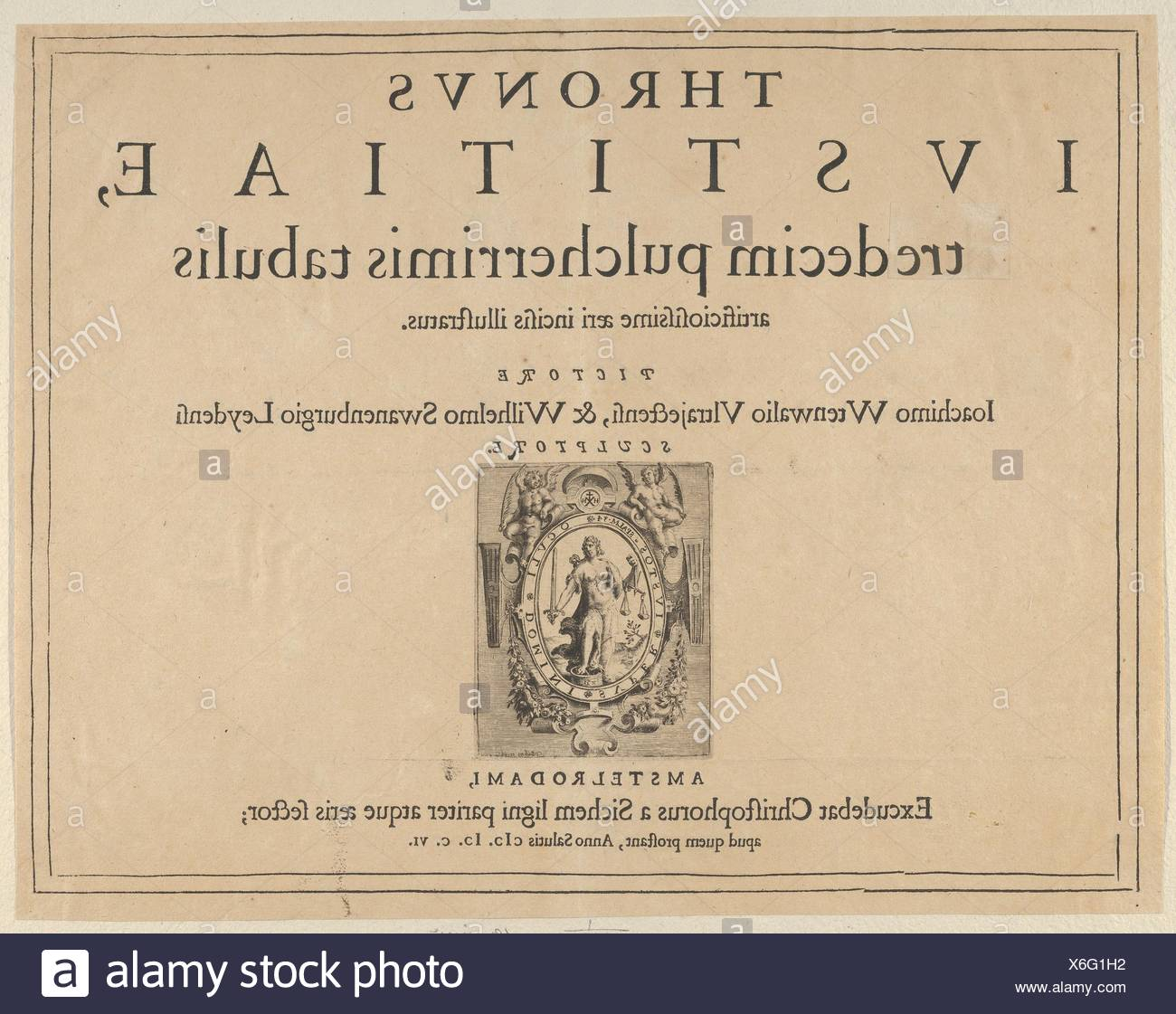 Typographic Title Page with a Vignette Depicting the Allegorical Figure of Justice, from Thronus Justitiae, tredecim pulcherrimus tabulis. - Stock Image