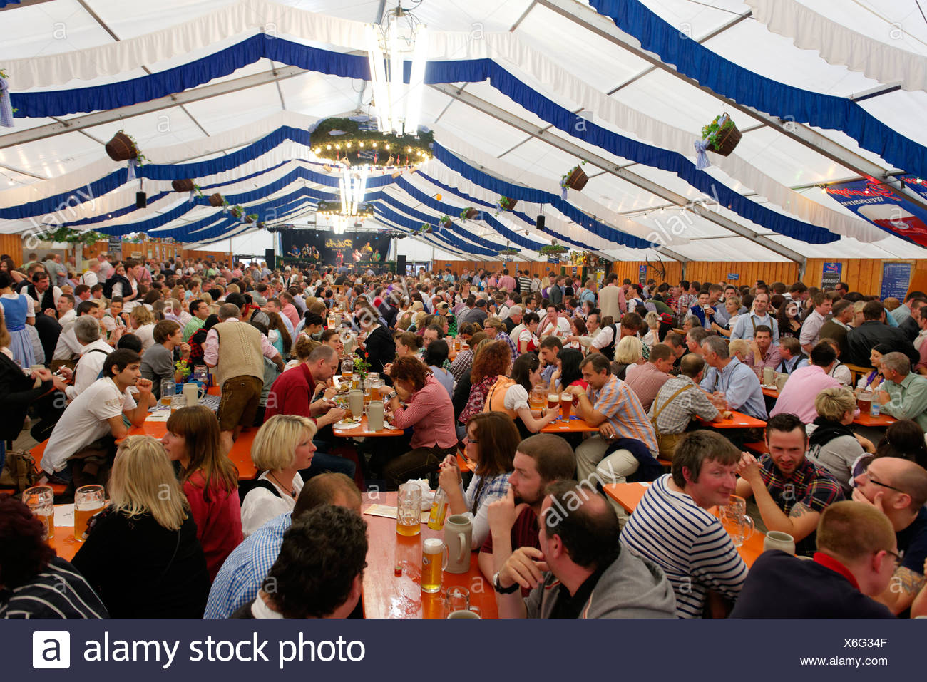 Beer hall, Altoettinger Hofdult, folk festival, Altoetting, Upper Bavaria, Bavaria - Stock Image