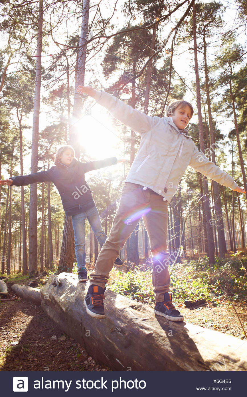 Twin brothers walking along fallen tree trunk in forest Stock Photo
