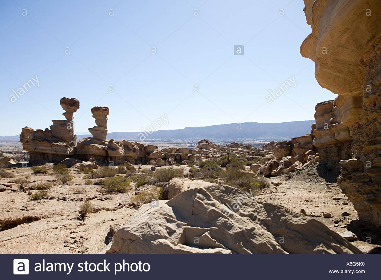 Rock formation in ischigualasto in san juan province of argentina - Stock Image