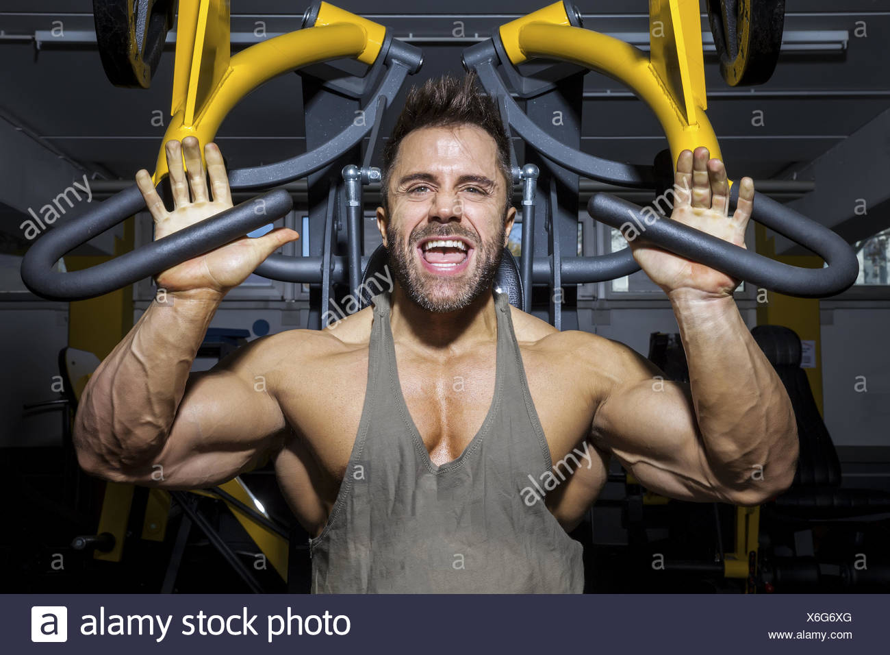 handsome bearded bodybuilding man - Stock Image