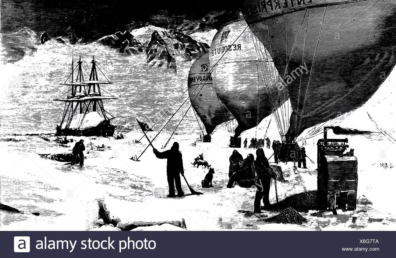 A British Polar Expedition, start of three balloons, 1879 - Stock Image