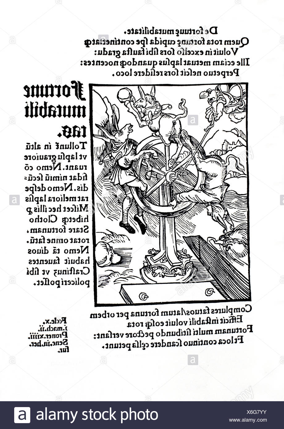 The wheel of the Fortune, turned by the Divine Providence. ´The Ship of Fools´ by Sebastien Brant. Basel, 1497. - Stock Image
