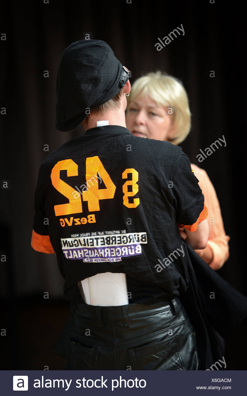 Berlin, Germany, activist campaigns for citizen participation - Stock Image