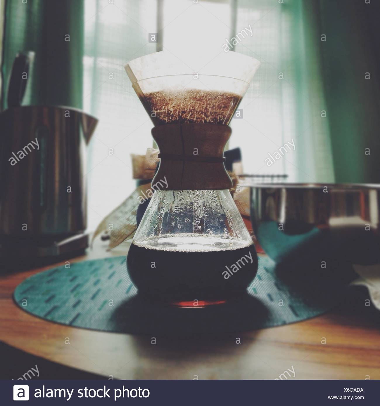 Coffee brewing in home interior - Stock Image