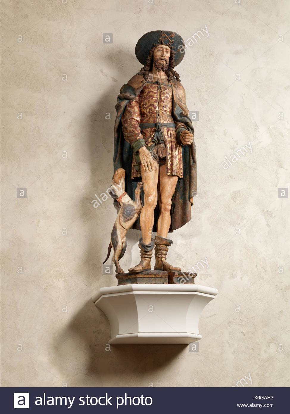 Saint Roch. Date: early 16th century; Geography: Made in Normandy, France; Culture: French; Medium: Oak, paint, gilt; Dimensions: 62 1/4 x 20 1/2 x - Stock Image