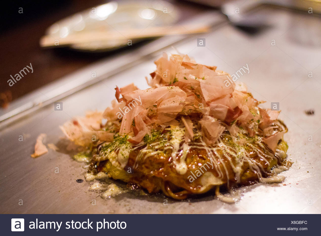 Close-Up Of Okonomiyaki Stock Photo