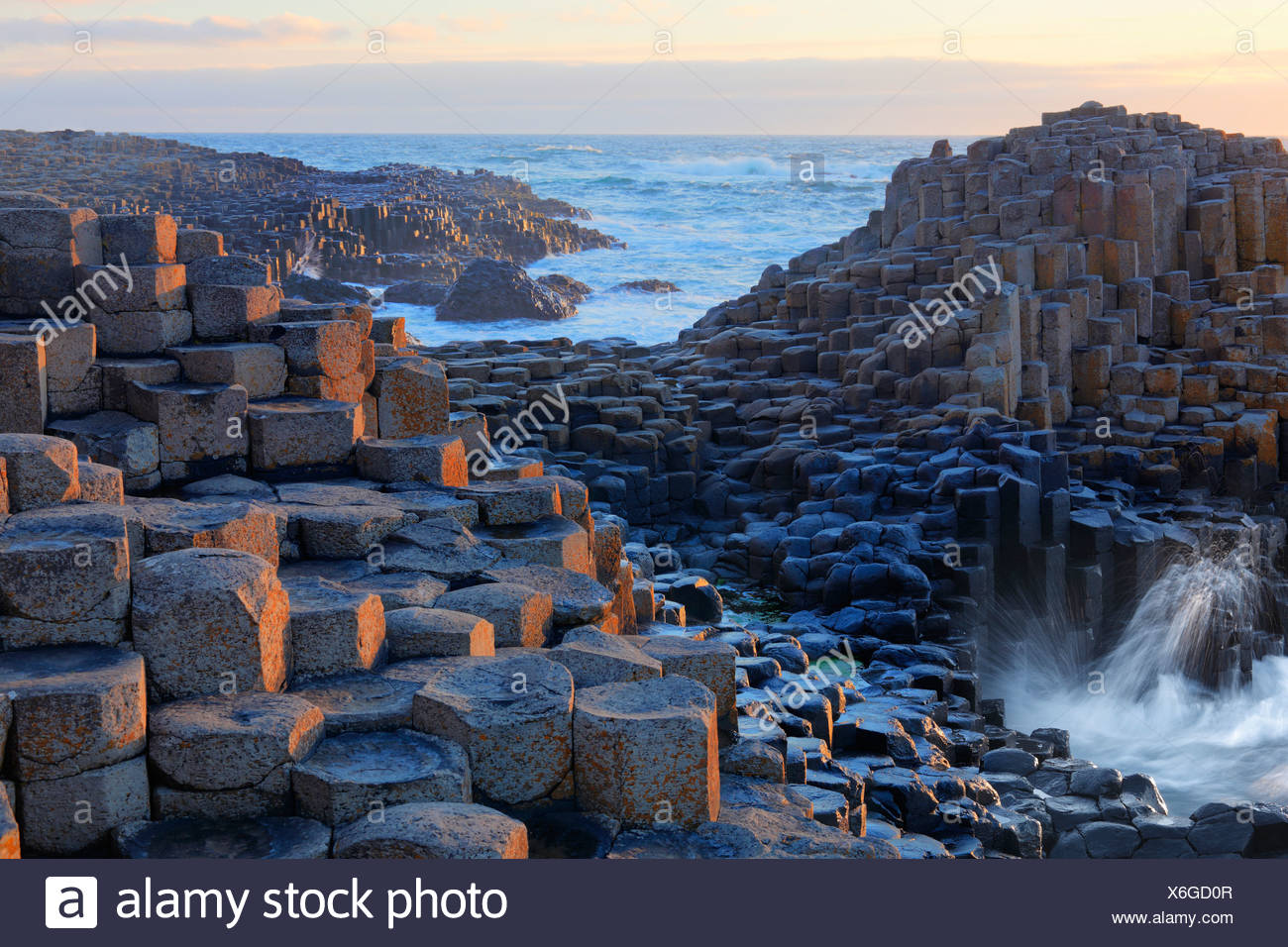 Basaltic columns, Giant's Causeway, Causeway Coast, County Antrim, Northern Ireland, United Kingdom, Europe - Stock Image