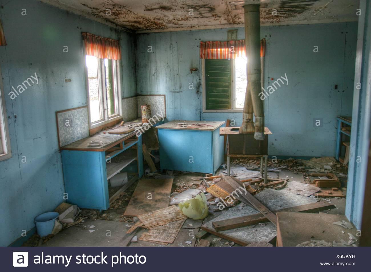 Messy Abandoned House - Stock Image