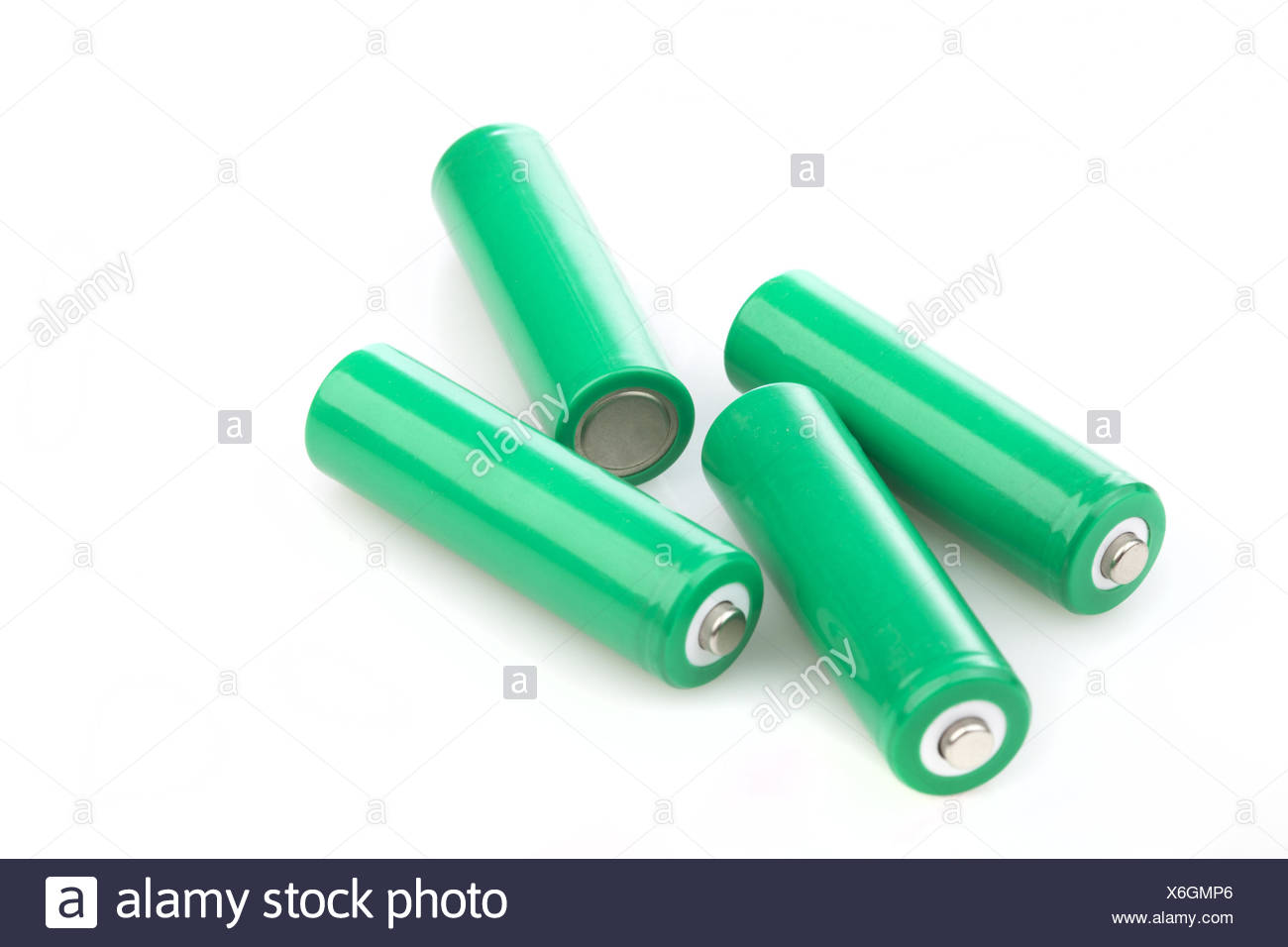 Four rechargeable green eco batteries - Stock Image