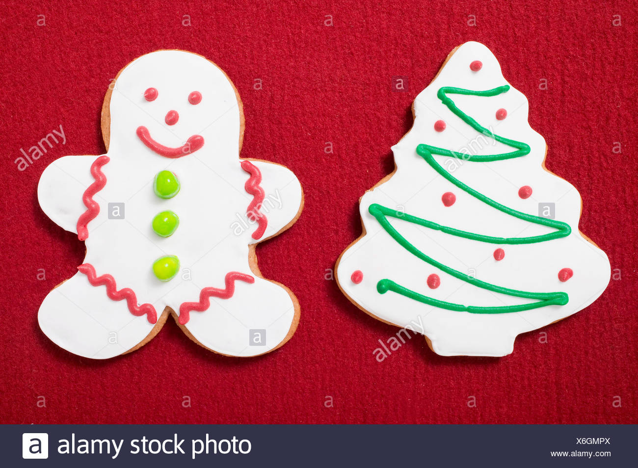 Two Christmas Biscuits Christmas Tree Gingerbread Man Stock Photo