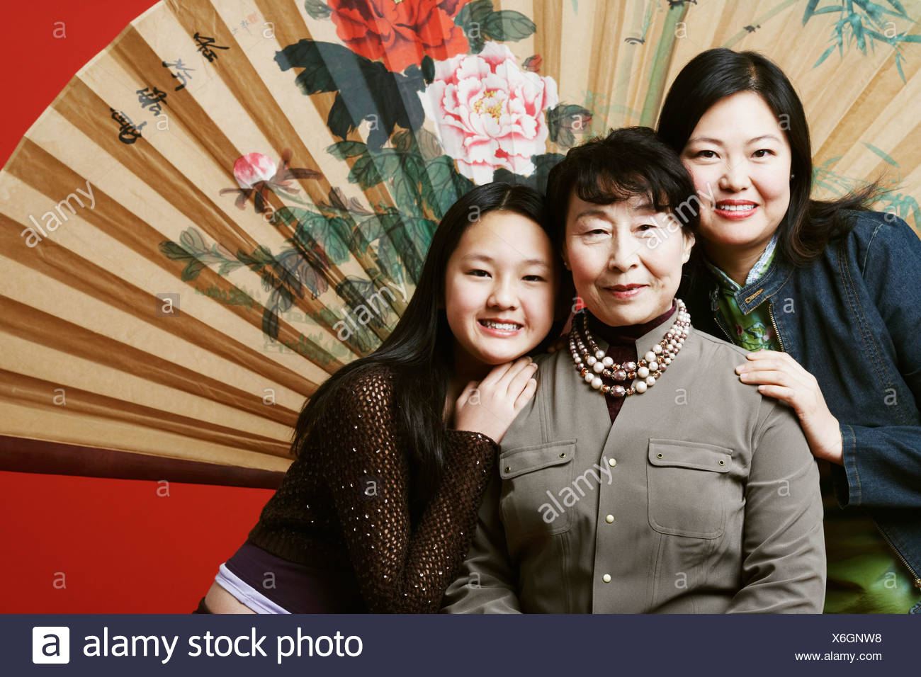 Portrait of a grandmother with her daughter and granddaughter - Stock Image