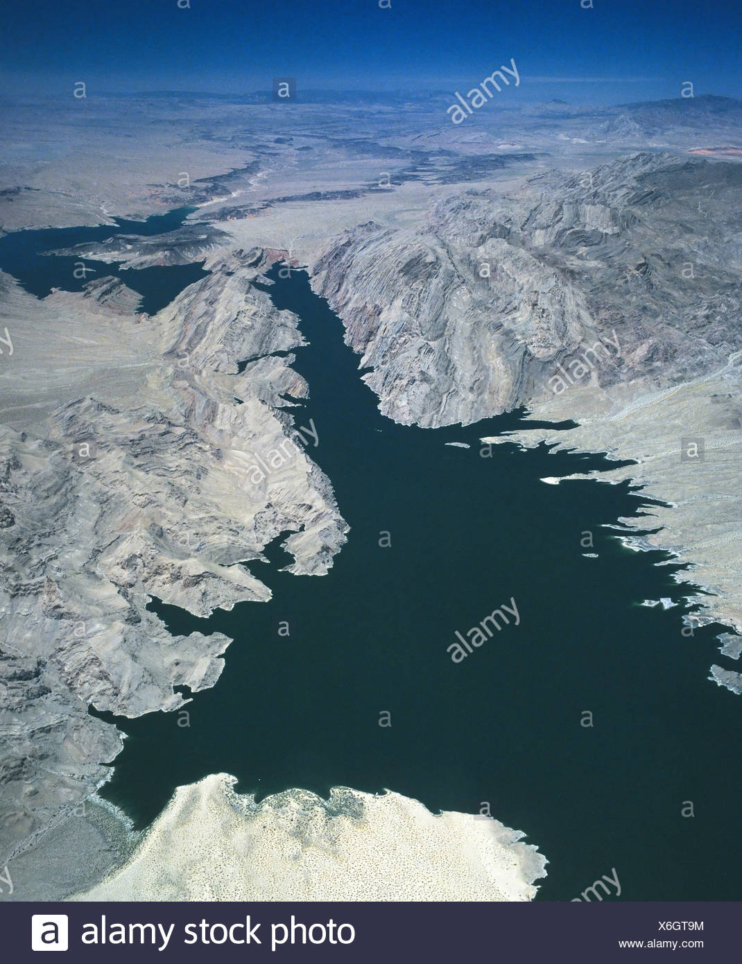 Lake Mead Reservoir, aerial view, Hoover Dam, Nevada, USA Stock Photo