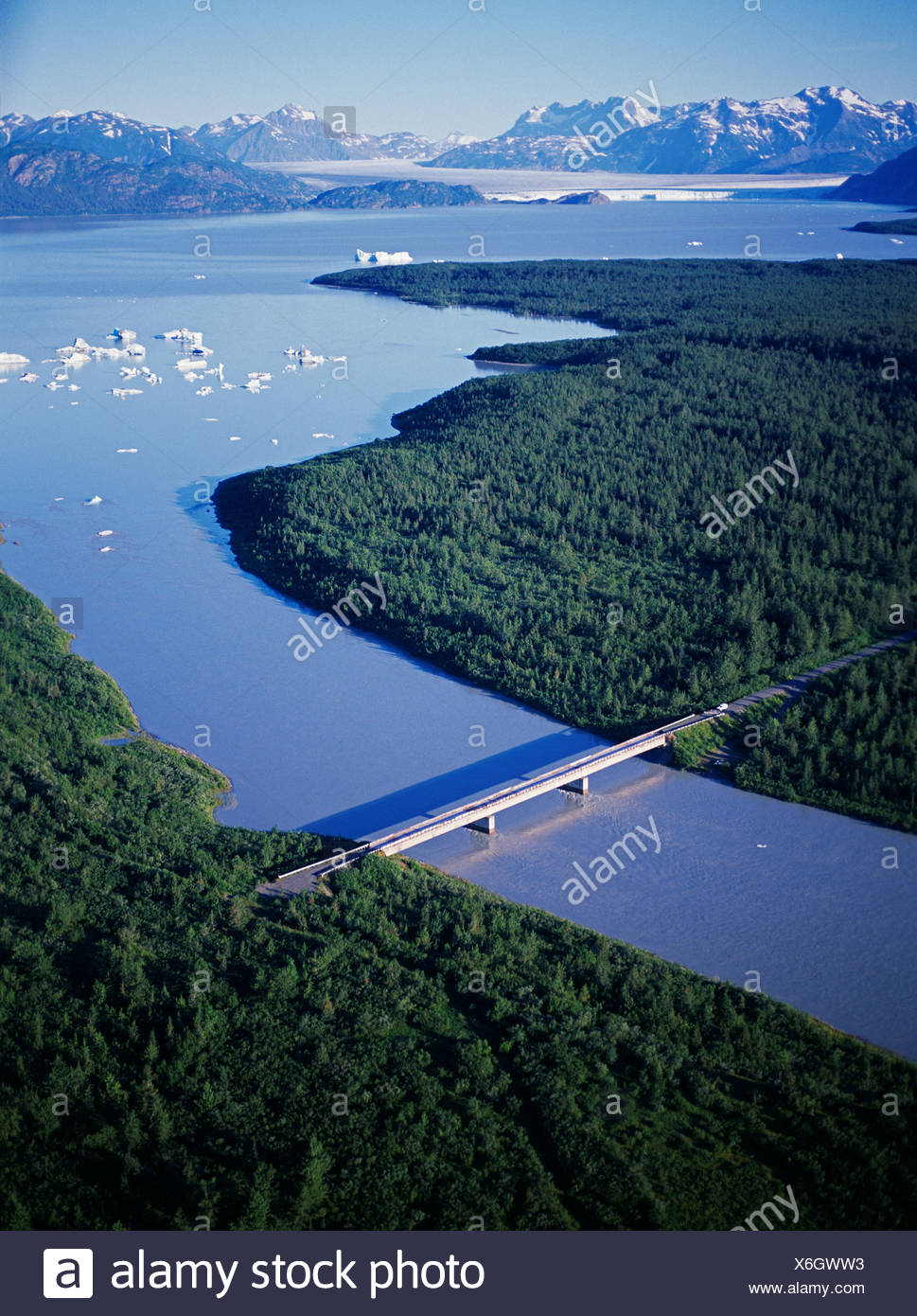 Existing 'bridge to nowhere' crossing Dangerous River road immediately ending Tongass National Forest southeast Yakutat. - Stock Image
