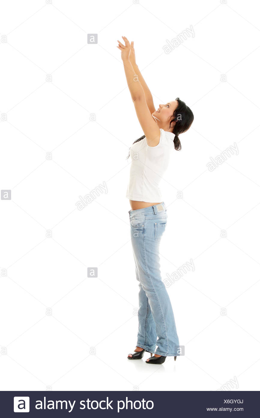 woman upwards women hand hands reach beautiful beauteously nice isolated Stock Photo