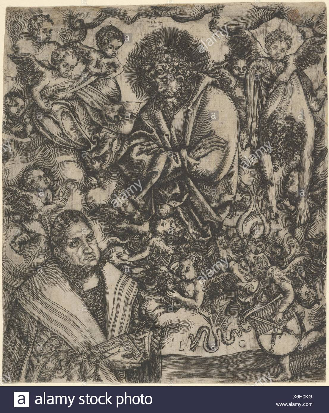 Frederick the Wise of Saxony Adoring St Bartholomew. Artist: Lucas Cranach the Elder (German, Kronach 1472-1553 Weimar); Date: ca. 1508-9; Medium: - Stock Image
