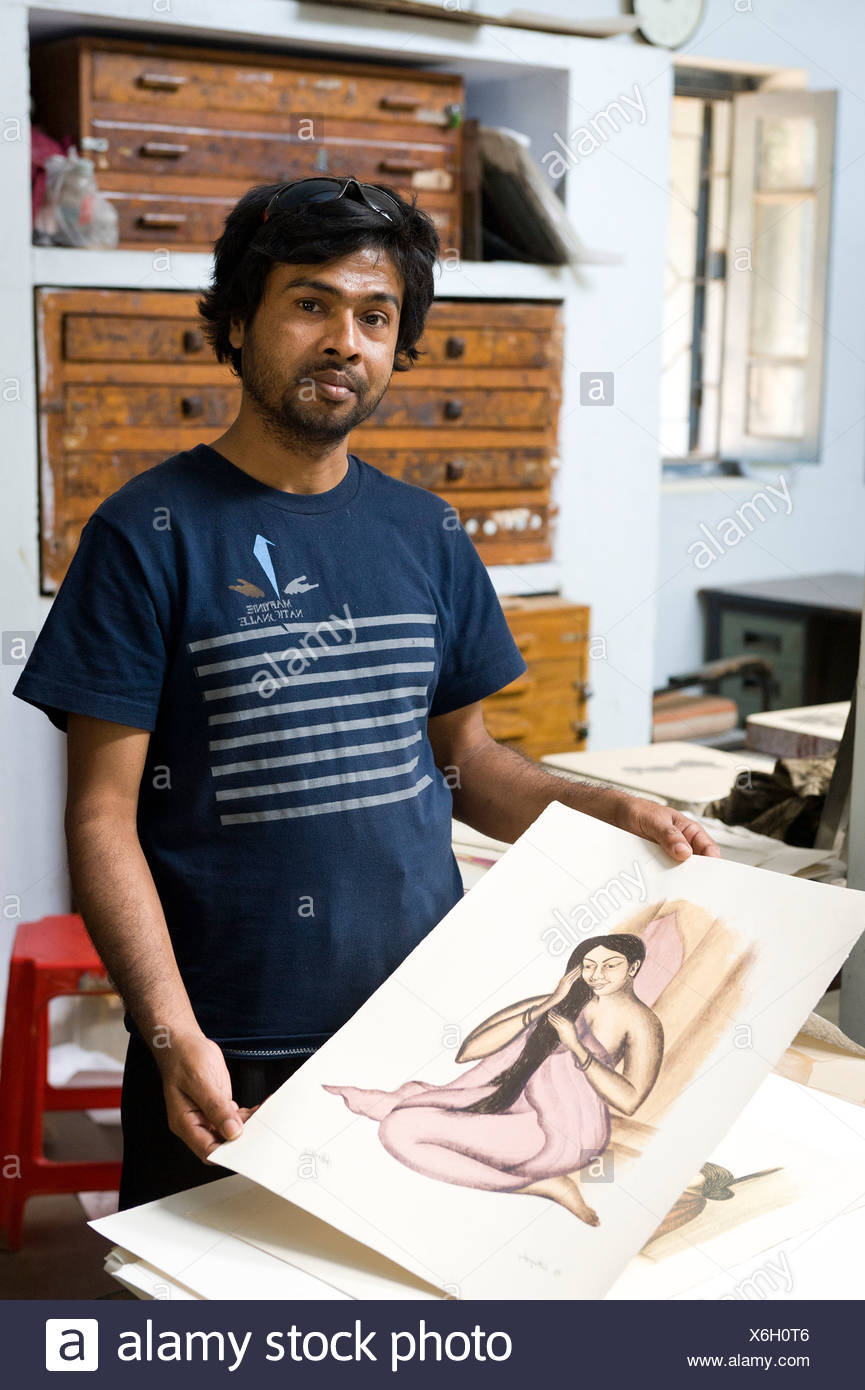 Art student from Bangladesh, Visva-Bharati University, Shanti Niketan, West Bengal, India, Asia - Stock Image