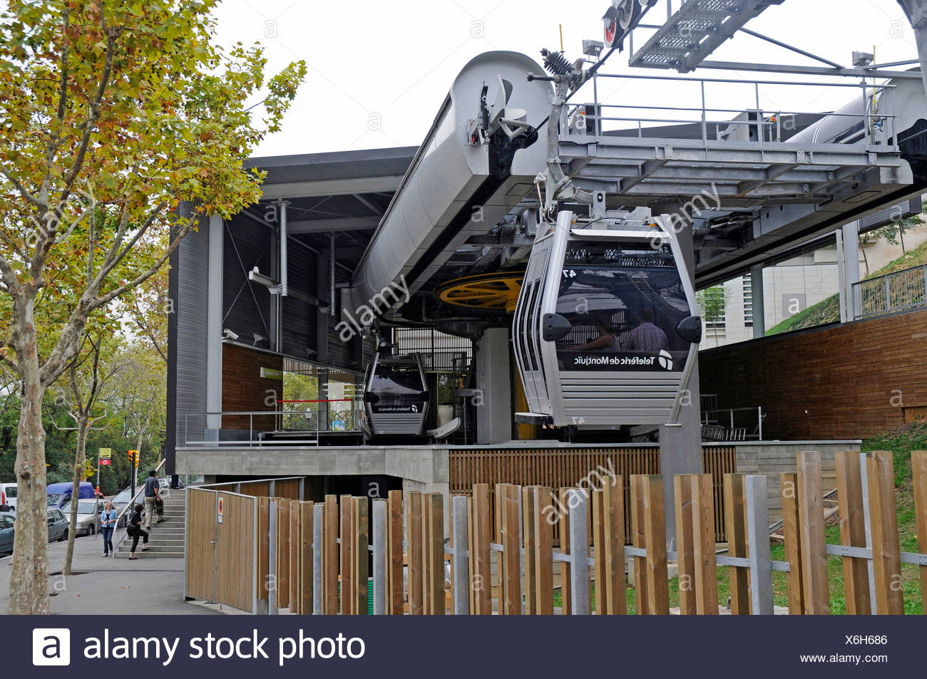Teleferic, cable car station, Montjuic, Barcelona, Catalonia, Spain, Europe - Stock Image