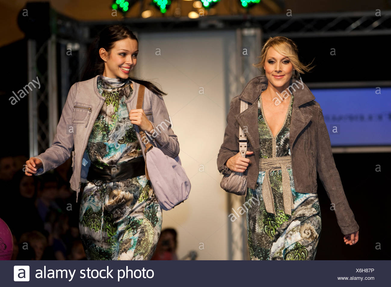 Female models in a fashion show in the Emmencenter shopping center in Emmenbruecke, Lucerne, Switzerland - Stock Image