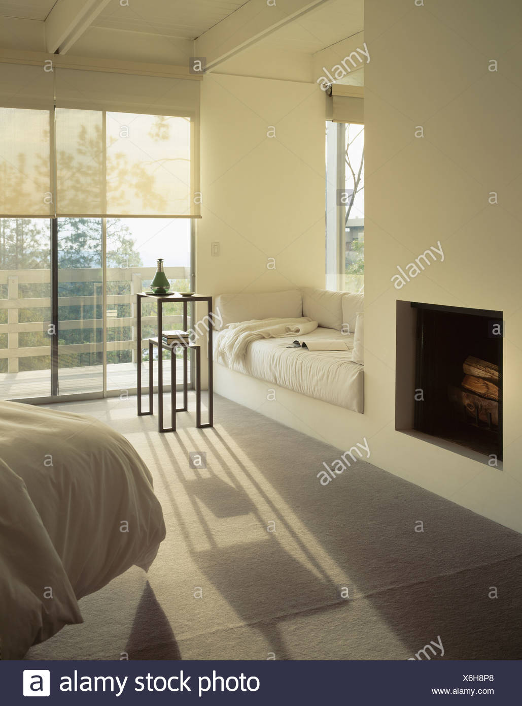 Sensational Fireplace And Window Seat With Cream Cushions In Modern Theyellowbook Wood Chair Design Ideas Theyellowbookinfo