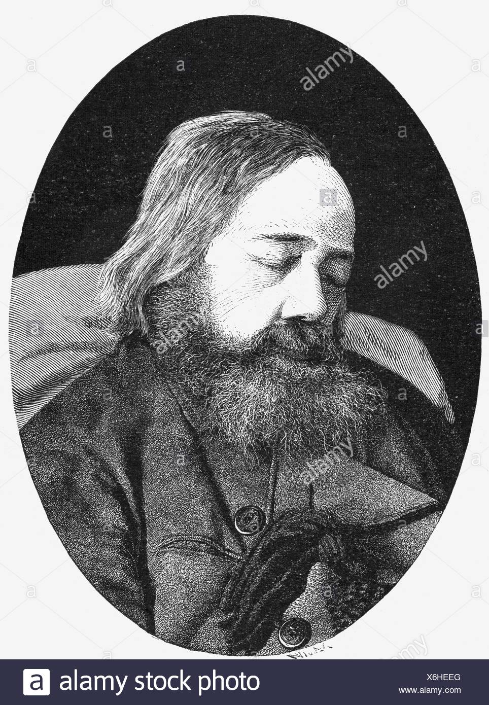 Freiligrath, Ferdinand, 17.6.1810 - 18.3.1876, German poet, portrait of the dead bard, sitting in his armchair, wood engraving, Additional-Rights-Clearances-NA - Stock Image