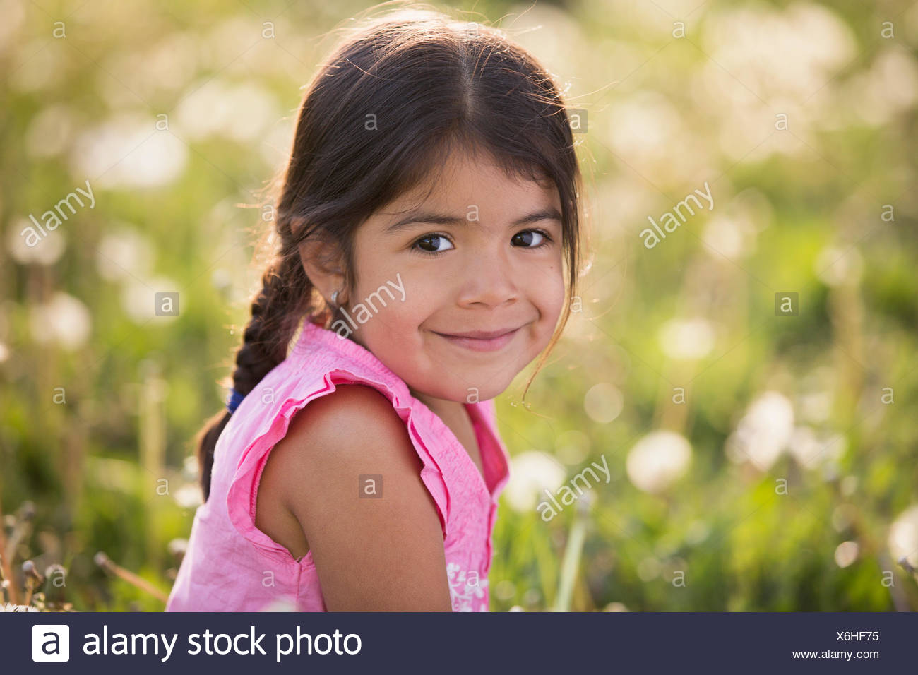 A young girl with brown hair and braids, in a wild flower meadow. - Stock Image