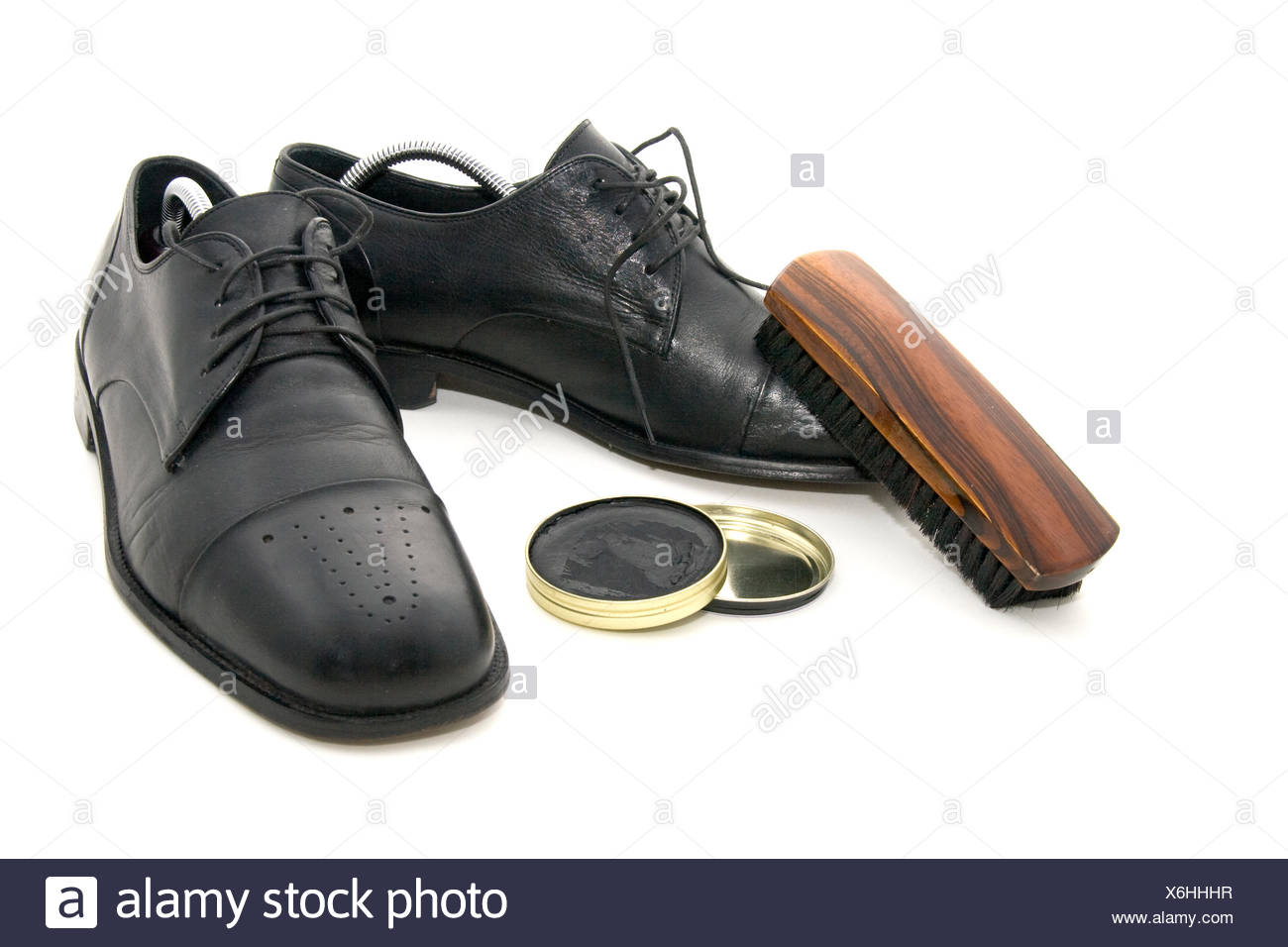 cleaning shoes - Stock Image