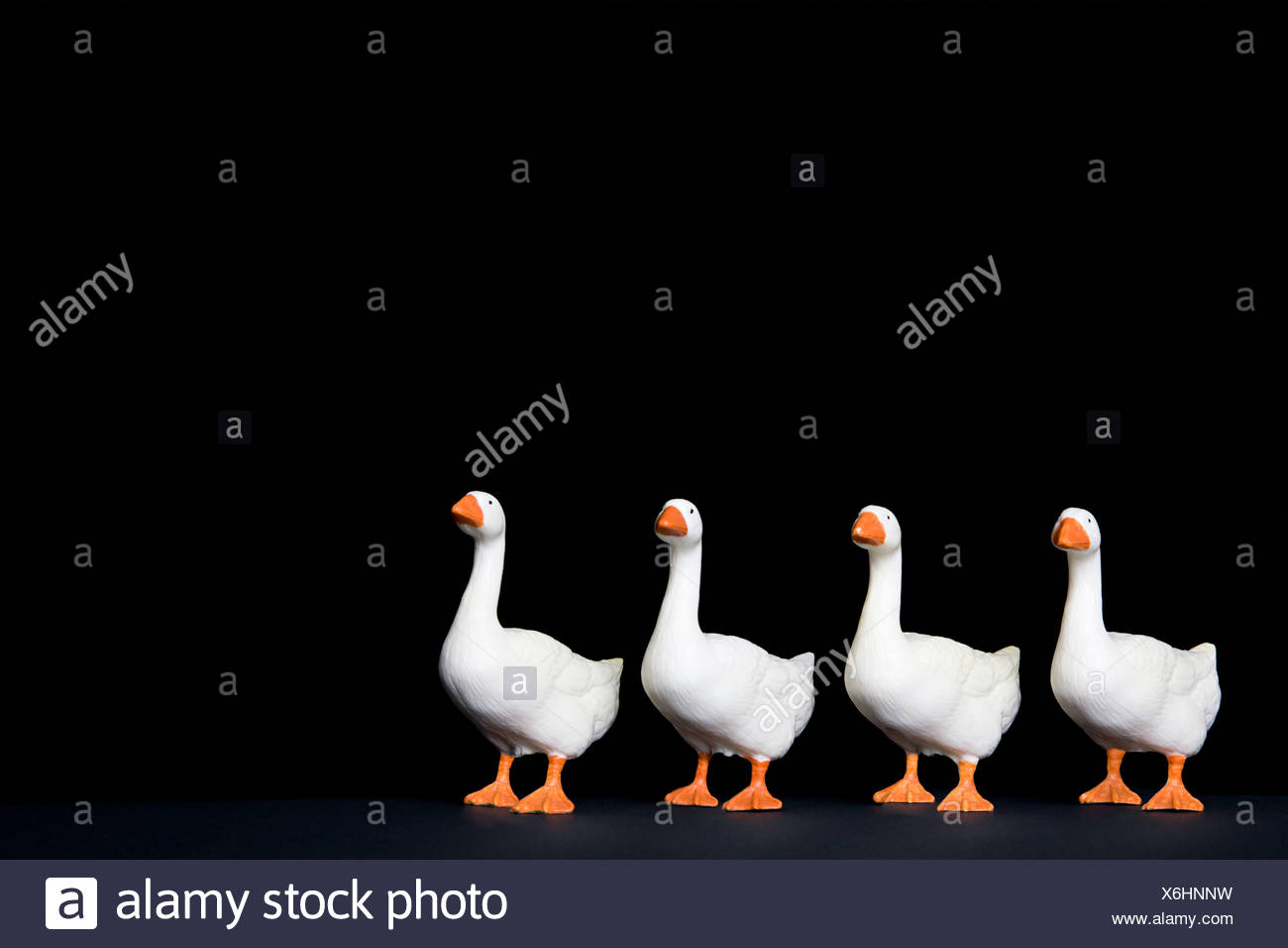 Four toy geese in a row - Stock Image