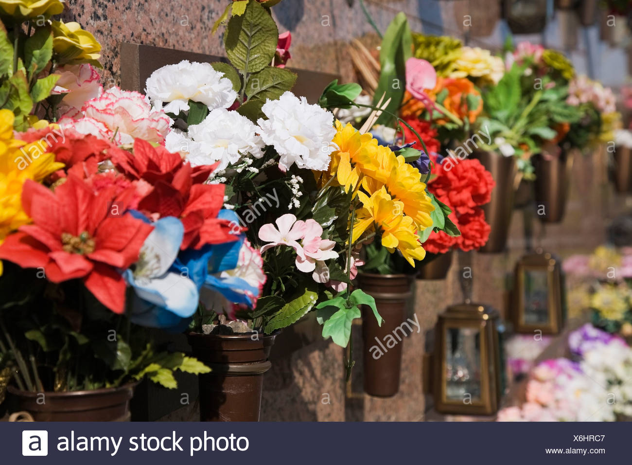 Silk Flower Arrangements at a Columbarium, Laval, Quebec, Canada ...