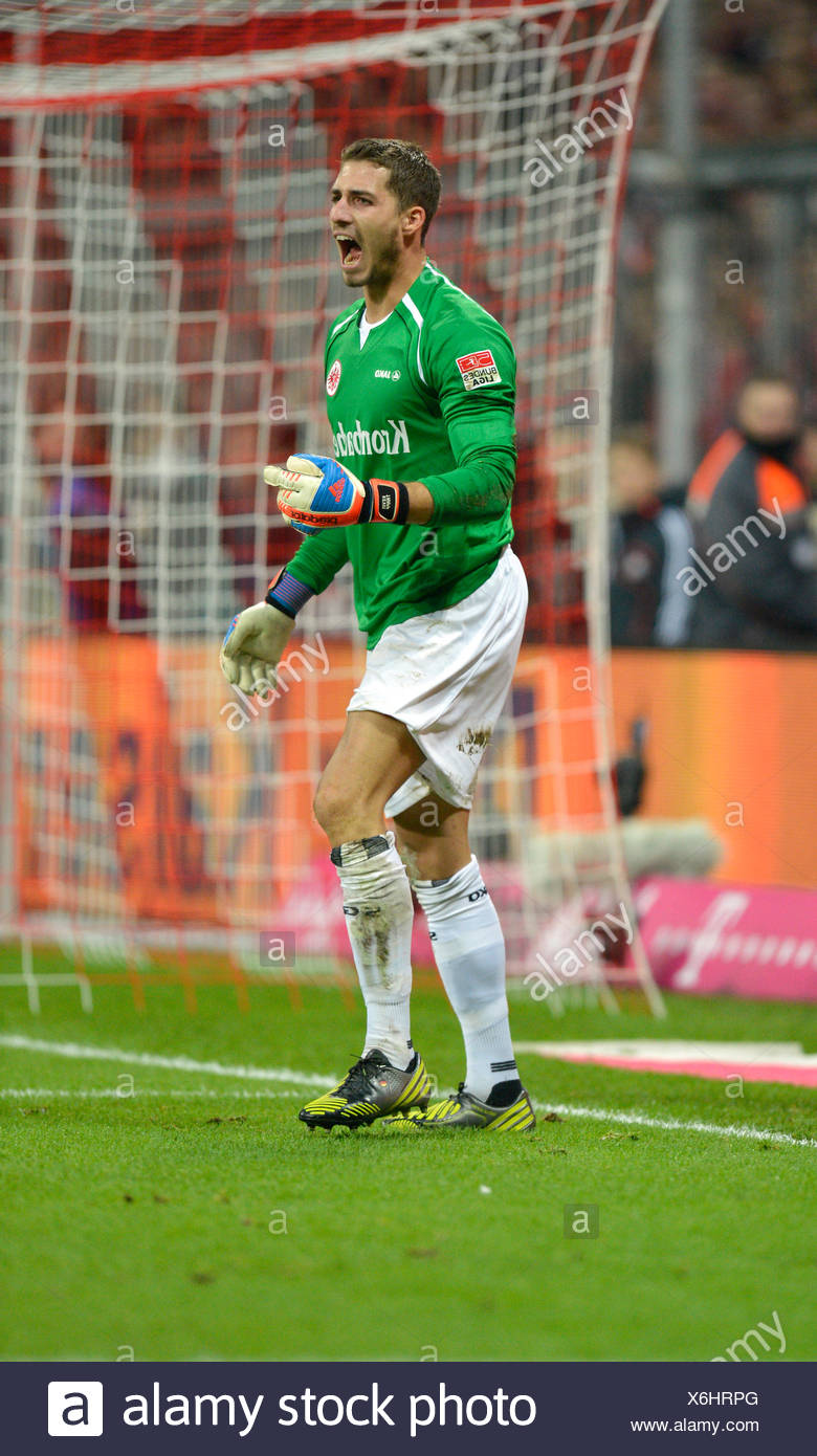 Goalkeeper Kevin Trapp, Eintracht Frankfurt, supporting his team, Allianz Arena, Munich, Bavaria - Stock Image