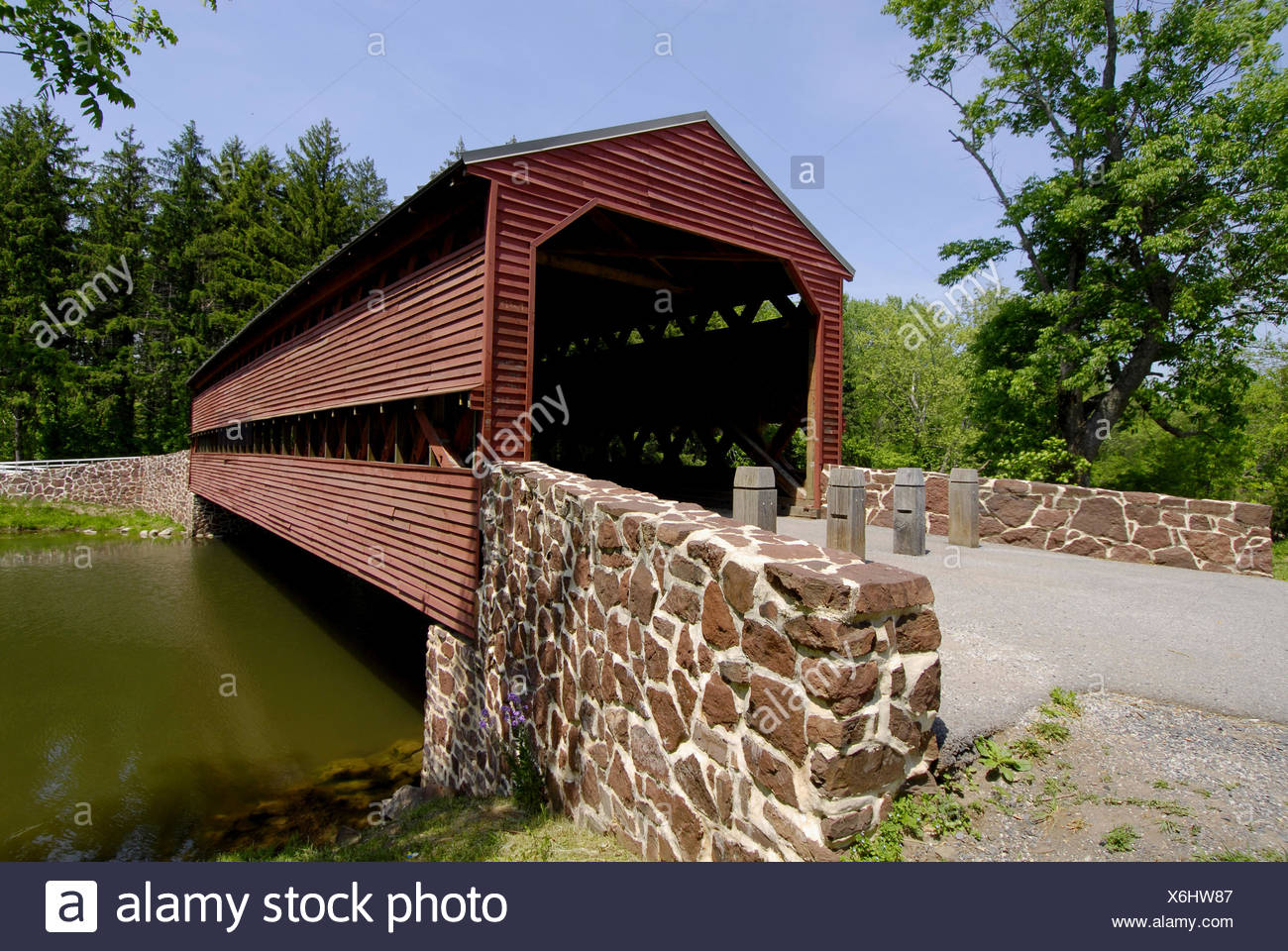 Sachs Covered Wooden Bridge Over Marsh Creek In Adams County Near On