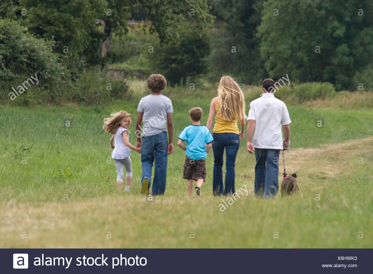 back of young family walking in countryside with brindle staffordshire bull terrier dog, daughter turning head to camera - Stock Image