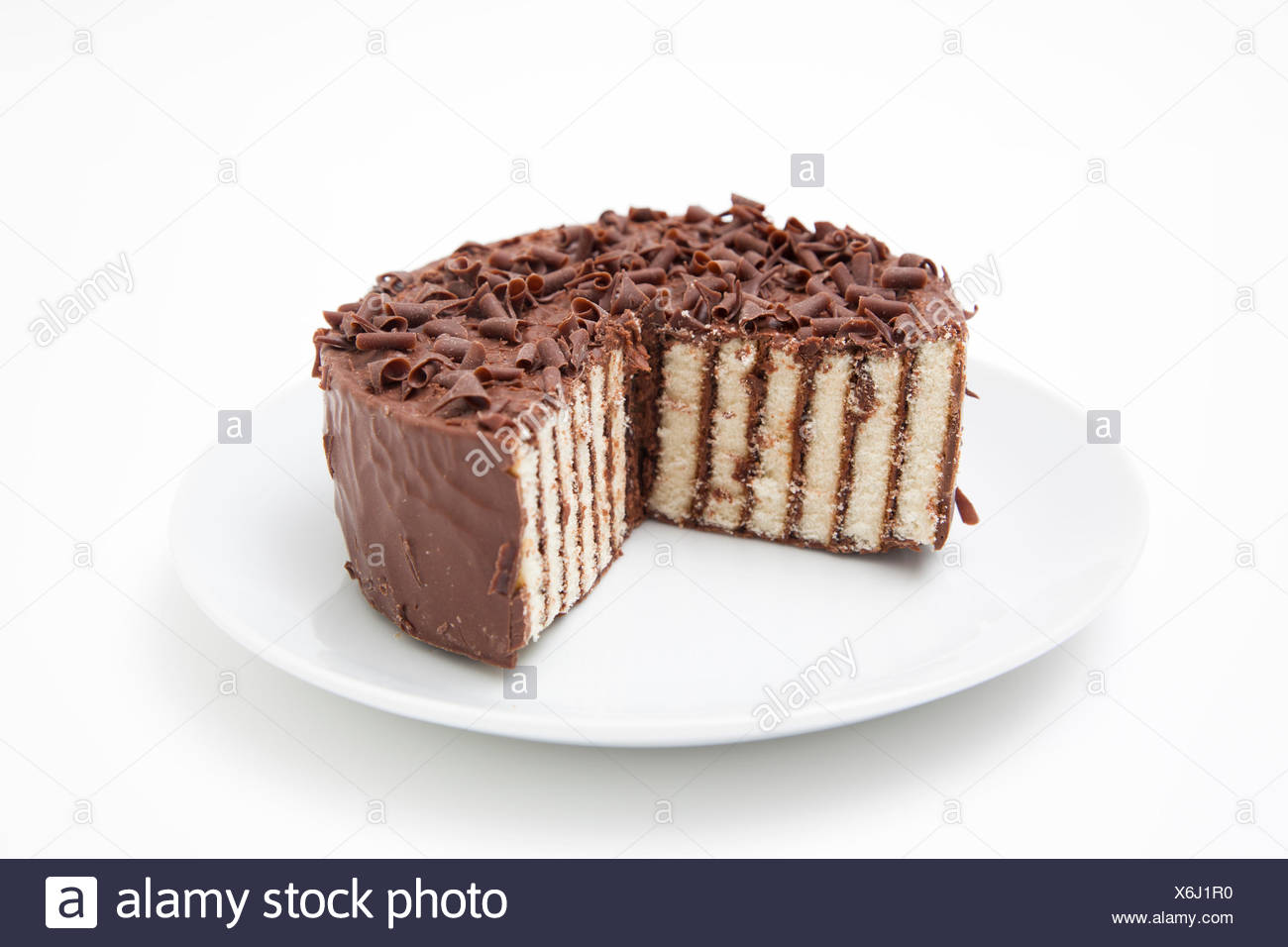 Chocolate layer cake on a plate  sc 1 st  Alamy & Chocolate layer cake on a plate Stock Photo: 279450388 - Alamy