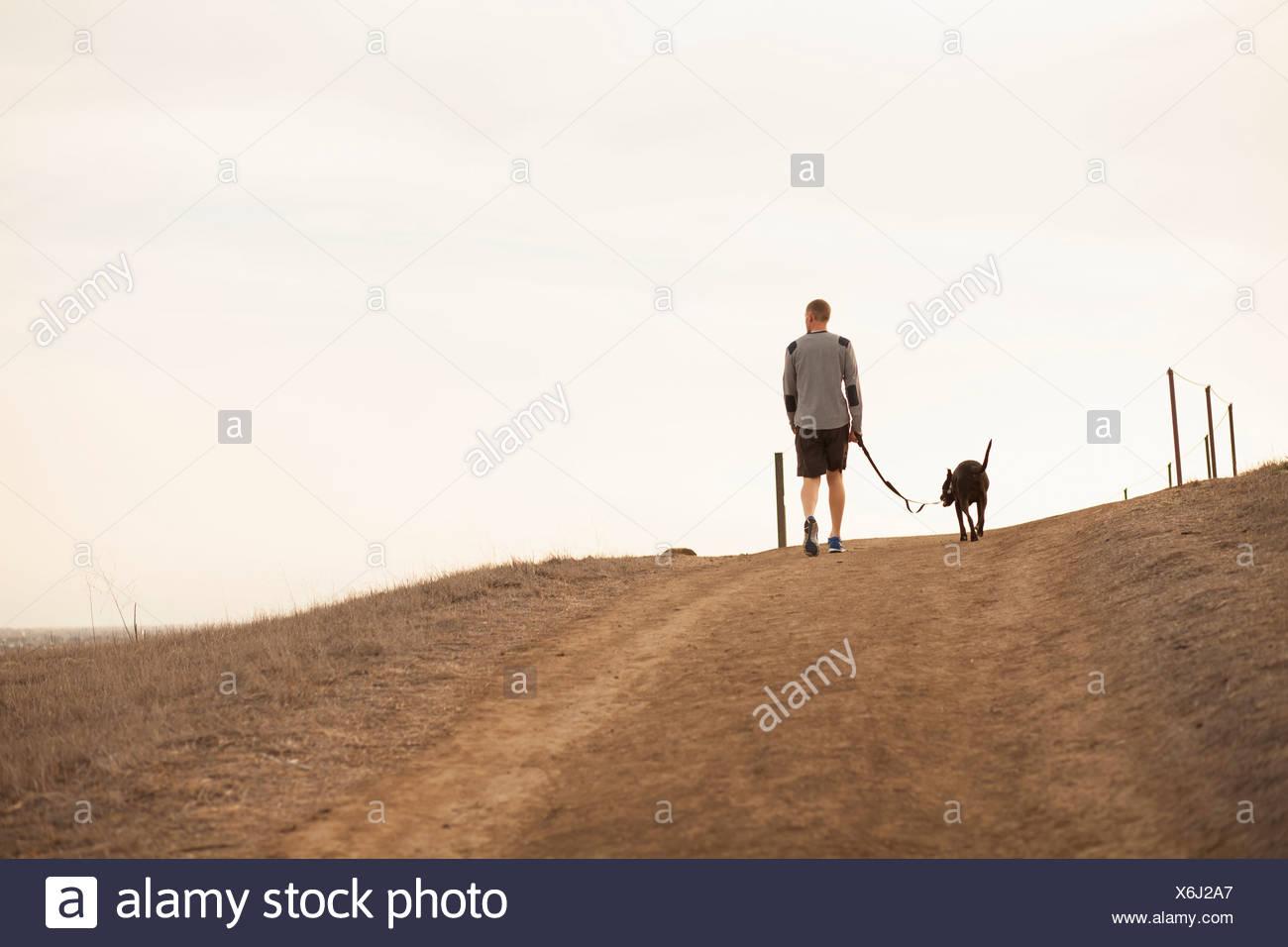 Man walking dog - Stock Image