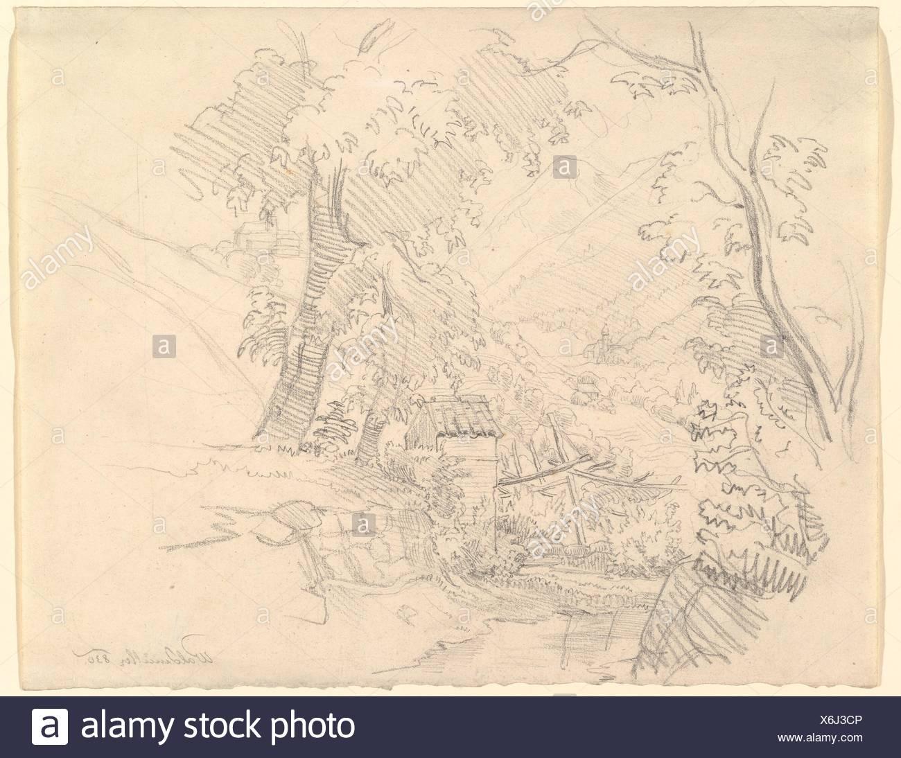 Landscape with a View in a Valley. Artist: Ferdinand Georg Waldmüller (Austrian, Vienna 1793-1865 Helmstreitmühle in der Hinterbrühl); Medium: - Stock Image