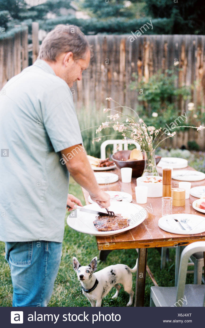 A man carving meat at a family meal in a garden, being watched by a small dog under the table. - Stock Image